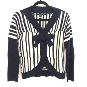 MARC JACOBS | Cream and  Navy Striped Bow Cardigan